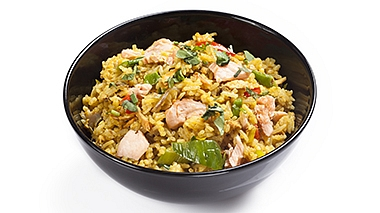 Fried curry rice with salmon and vegetables